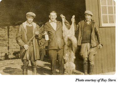 When Dr. McCleery's wolf park between Gap and Coatesville closed, all of the wolves were shot. The man on the left in this photo is George Stern and the man in the middle is probably Maurice Hanna. Photo courtesy of Ray Stern.