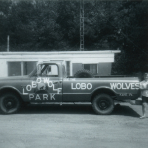 Leora Hoge with the Wolf Park Pickup Truck [Photograph]