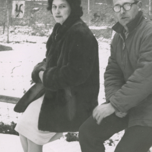 Marjorie and Jack Lynch at the Lobo Wolf Park near Kane [Photograph]